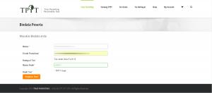 Halaman Input Biodata untuk Tes